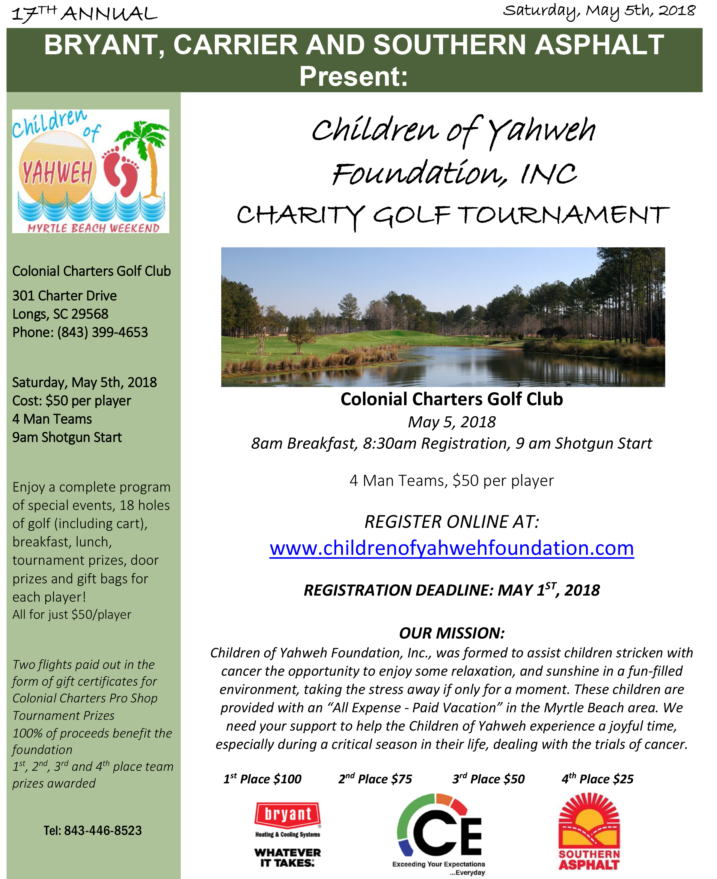 Charity Golf Tournament The Children Of Yahweh Foundation